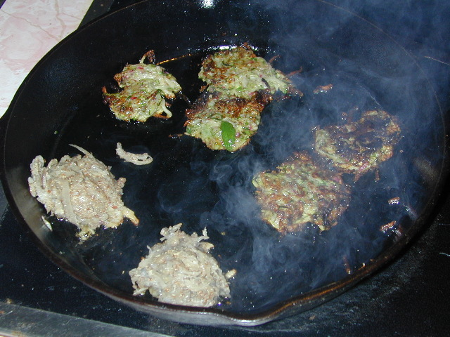 Zucchini and Turnip Latkes Cooking
