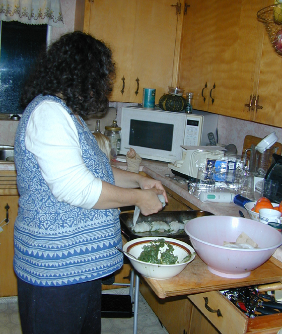 Cyndi making the fish rolls