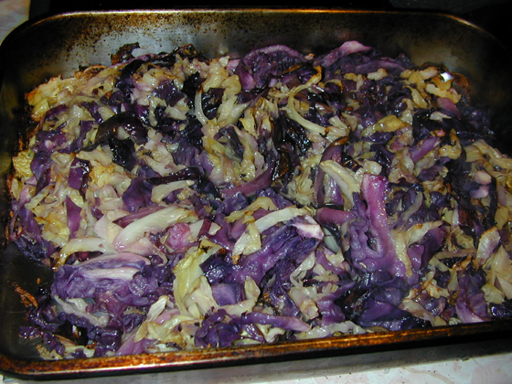 Roasted cabbage just out of the oven