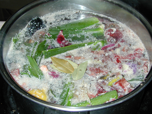 Fish Stock: salmon and vegetables