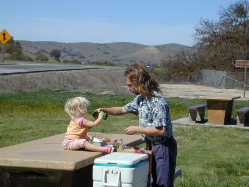 Miriam and Michael picnicking at Camp Roberts rest stop, northbound