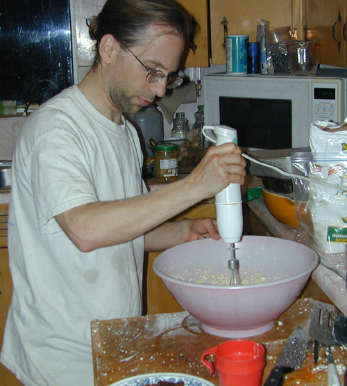 Michael making frosting