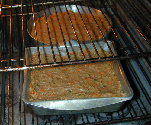 Carrot cakes in the oven