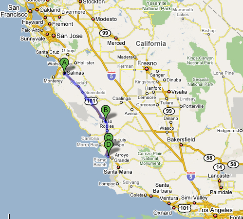 Map of stops along 101 from San Francisco to Los Angeles