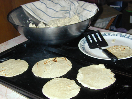 Tortillas being cooked