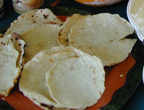 Tortillas being served