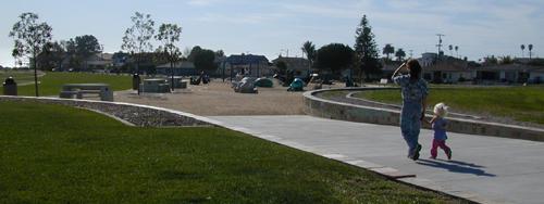Walking to Shell Beach playground