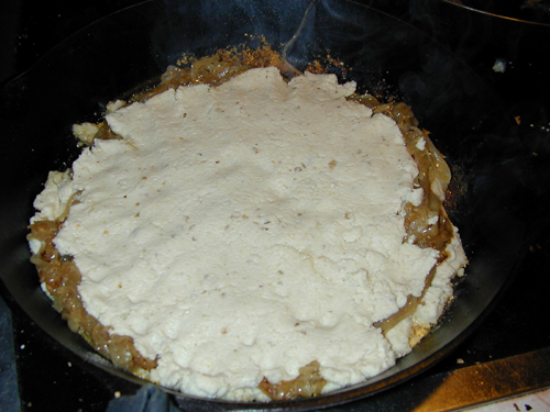 The top of masa over the pie