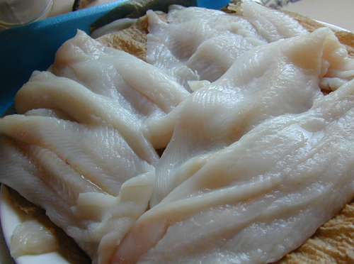 Dover sole washed and drying