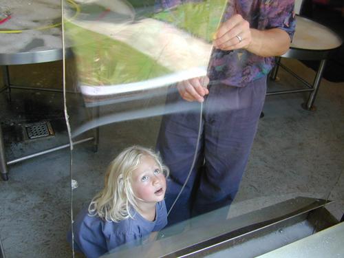 Miriam makes a giant bubble