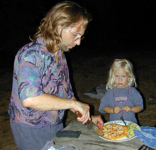 Michael & Miriam preparing fire roasted pizza
