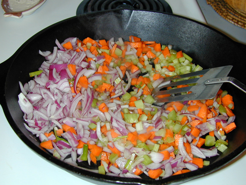 Sauteing red onion, carrot, and celery