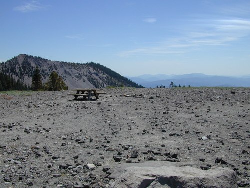 Picnic table on the top of Mt. Shasta