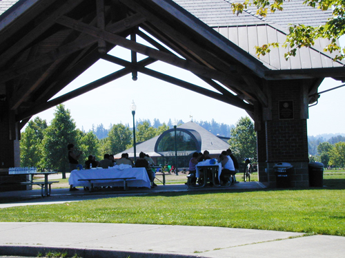 Covered picnic area at Riverfront Park