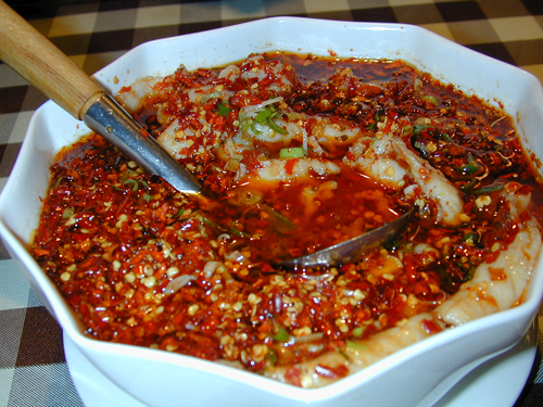 Broiled fish with chili soup