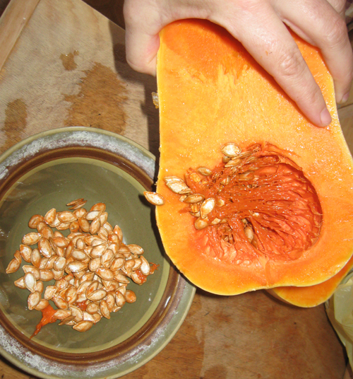 Removing butternut squash seeds