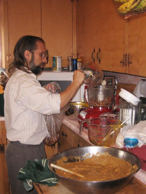 Michael processing pecans