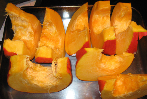 Chunks of pumpkin ready for baking