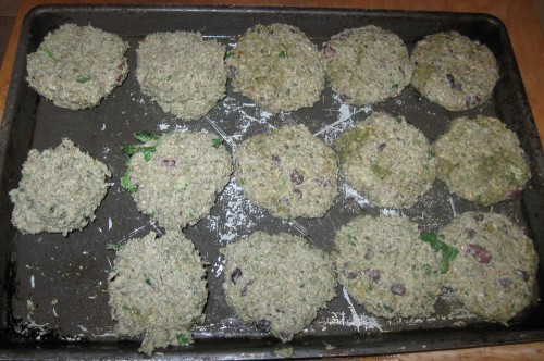 Nut Burgers formed and waiting to be cooked or frozen