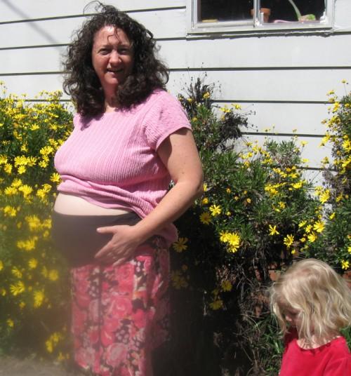 Cyndi at 11 weeks, with Miriam