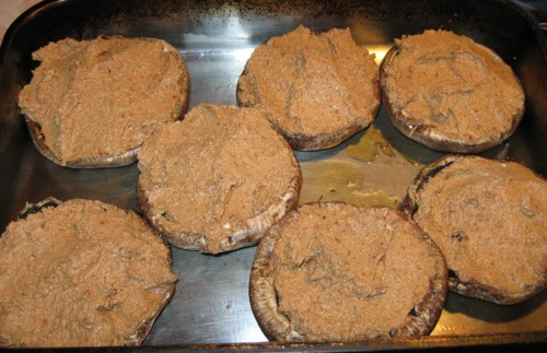 Stuffed portabella mushrooms ready for baking