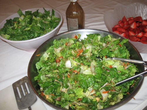 Salad and strawberries