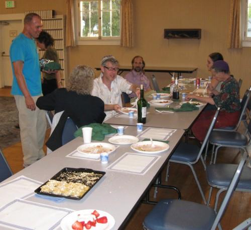 A few folks lingering over dinner
