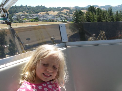 Miriam's first real ferris wheel was at the Marin Fair last month, but this one in Sonoma was far bigger