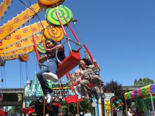 Miriam & Cyndi on the Fair swings