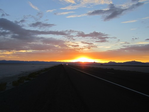 Sunset from 1-80 in Utah over the Nevada hills