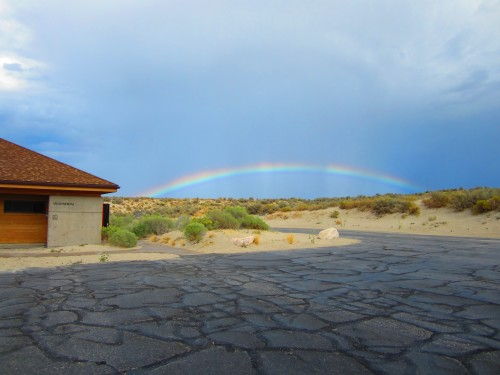 Rainbow after a brief thunderstorm at Bridgers Bay Beach on Antelope Island, UT