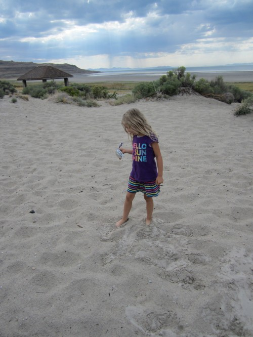Miriam at Bridgers Bay Beach on Antelope Island, UT