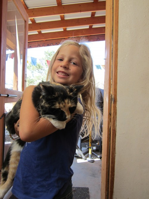 Miriam with Bella the cat, Taos, NM
