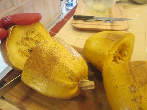 Spaghetti squash out of the oven