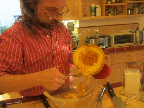 Michael deseeding the spaghetti squash